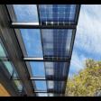 Bifacial solar panels installed, showing translucence